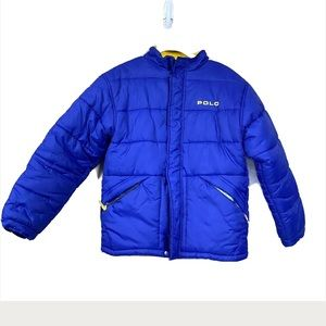 Vintage polo sport blue puffer jacket coat 90s